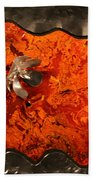 Silver Metal Flower On Orange Bath Towel