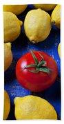Single Tomato With Lemons Bath Towel