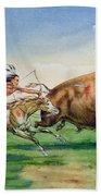 Sioux Hunting Buffalo On Decorated Pony Bath Towel