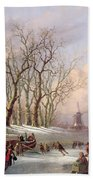 Skaters On A Frozen River Before Windmills Bath Towel