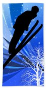 Ski Jumping In The Snow Hand Towel