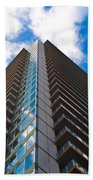 Skyscraper Front View With Blue Sky Bath Towel