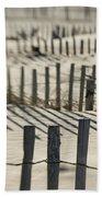 Slats Of Wooden Fence Throwing Shadows Bath Towel
