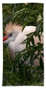 Sleepy Egret In Elderberry Bath Towel