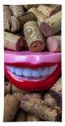 Smile Among Wine Corks Bath Towel