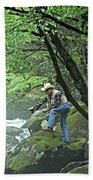 Smoky Mountain Angler Bath Towel
