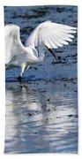 Snowy Egret Fishing Bath Towel