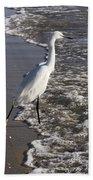 Snowy Egret Walking Bath Towel