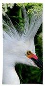 Snowy Egret With Breeding Plumage Bath Towel