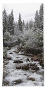Snowy Foliage Along Stream In Autumn Bath Towel