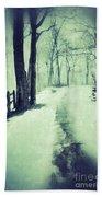 Snowy Wooded Path Bath Towel
