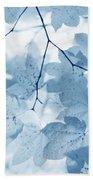 Softness Of Blue Leaves Bath Towel