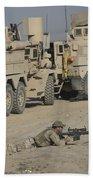 Soldier Fires A Barrett M82a1 Rifle Bath Towel