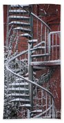 Spiral Staircase With Snow And Cooper's Hawk Bath Towel