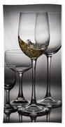 Splashing Wine In Wine Glasses Hand Towel