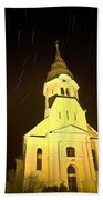 Star Trails Behind Vodice Church Bath Towel