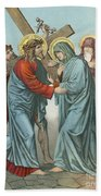 Station Iv Jesus Carrying The Cross Meets His Most Afflicted Mother Bath Towel