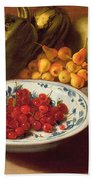 Still Life Of Cherries - Marrows And Pears Bath Towel