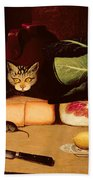 Still Life With Cat And Mouse Bath Towel