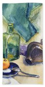 Still Life With Green Bottle Hand Towel