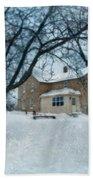 Stone Farmhouse In Winter Bath Towel