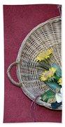 Straw Basket With Flowers Bath Towel