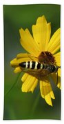 Striped Bee On Wildflower Bath Towel
