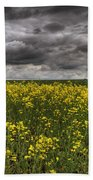 Summer Storm Clouds Over A Canola Field Bath Towel