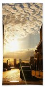 Summer Sunset Over A Cobblestone Street - New York City Bath Towel