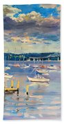 Sun And Clouds In Hudson Bath Towel