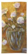 Sunny Carnations In A Vase Bath Towel