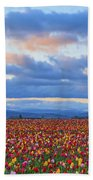 Sunrise Over A Tulip Field At Wooden Bath Towel