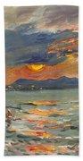 Sunset In Aegean Sea Bath Towel