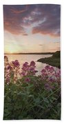 Sunset Over Dunguaire Castle, Kinvara Bath Towel
