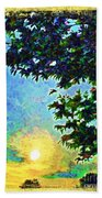 Sunset With Leaves Bath Towel