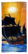 Sunship Galleon On Wood Bath Towel