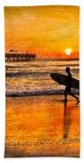Surfer Silhouette Bath Towel