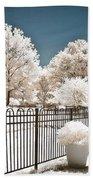 Surreal Michigan Infrared Nature - Dreamy Color Infrared Nature Fence Landscape Michigan Infrared Bath Towel