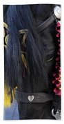 sweetheart - a Menorca race horse with traditional multicolor ribbons and mirror star Bath Towel