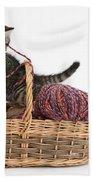 Tabby Kitten Playing With Knitting Wool Bath Towel