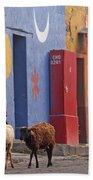 Taking Sheep To Market At Chichicastenango Bath Towel