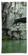 The Lion Monument In Lucerne Honouring The Swiss Soldiers Killed During French Revolution Bath Towel