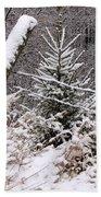 The Old Fence - Snowy Evergreen Bath Towel