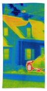 Thermogram Of Car In Front Of A House Bath Towel