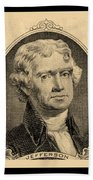 Thomas Jefferson In Sepia Bath Towel