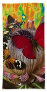Three Butterflies On Protea Bath Towel
