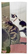 Three Cats Looking Out Into The Forest Bath Towel