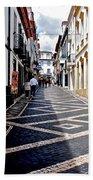 Tiled Street Of Ponta Delgada Bath Towel