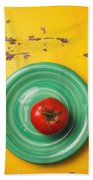 Tomato On Green Plate Hand Towel
