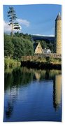 Tower Near A Lake, Round Tower, Ulster Bath Towel